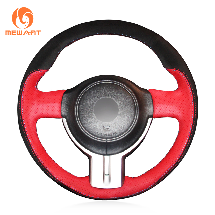 MEWANT Red Genuine Leather Black Suede Car Steering Wheel Cover for Toyota 86 2012-2015 Subaru BRZ 2012-2015 Scion FRS цена