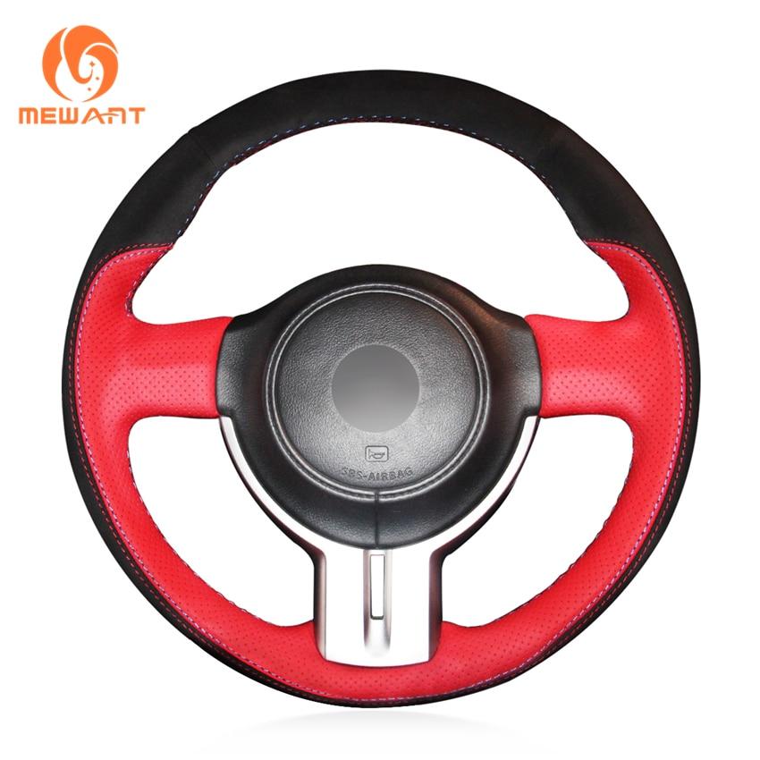 MEWANT Red Genuine Leather Black Suede Car Steering Wheel Cover for Toyota 86 2012-2015 Subaru BRZ 2012-2015 Scion FRS туринг 1 10 rs4 sport 3 drift subaru brz