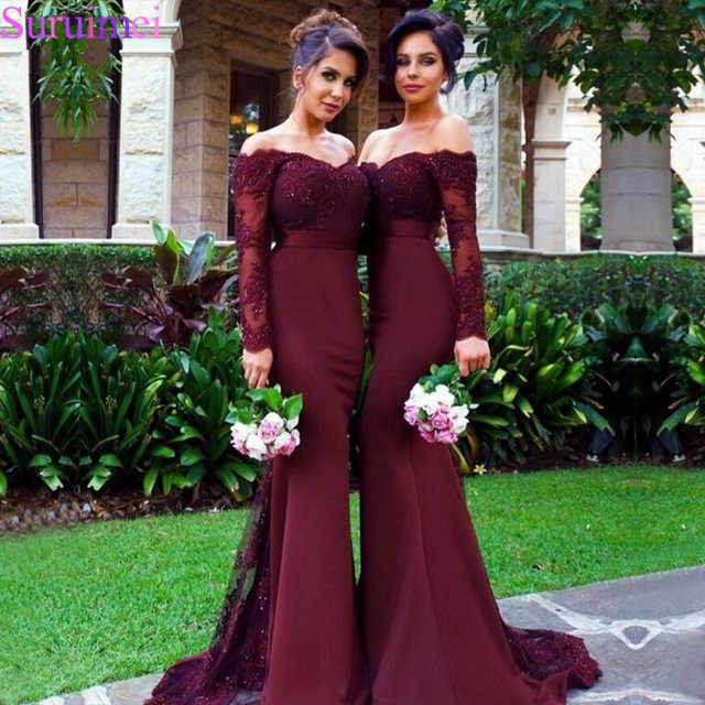Sexy Lace Burgundy Bridesmaid Dresses 2018 Mermaid Lengan Panjang Beaded Panjang Bridesmaid Dress Formal Pendamping