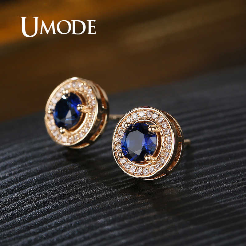 UMODE Clear Round Cubic Zirconia Stud Earrings for Women Fashion Gold Earrings Small Studs Jewelry Kpop Accessories UE0588B