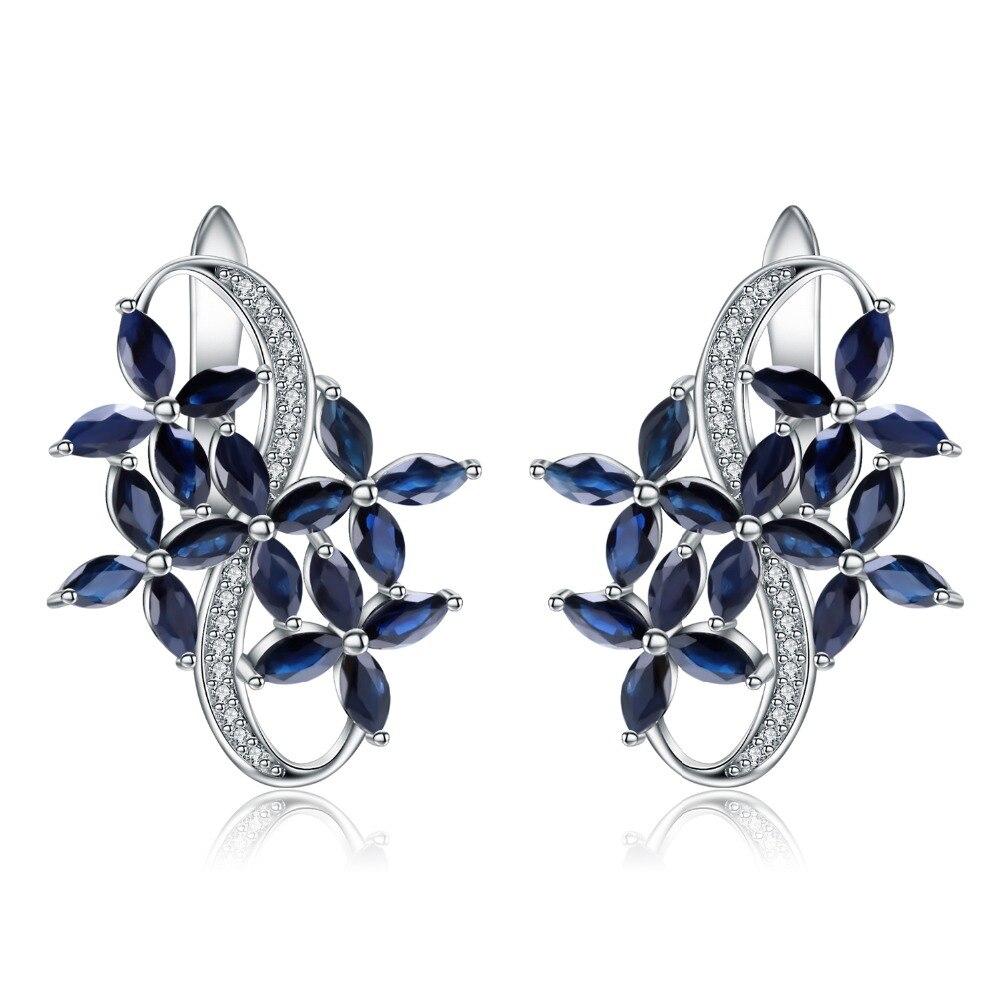 GEM'S BALLET 8.71Ct naturel Marquise bleu saphir pierres précieuses élégantes boucles d'oreilles en argent Sterling 925 bijoux fins pour les femmes