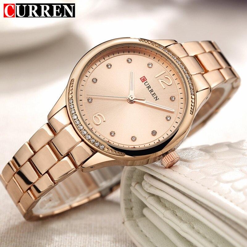 Женские модные повседневные Jewelry подарки Curren женские часы лучший бренд роскошные золотые полный стали кварцевые часы платье дамы наручные ...