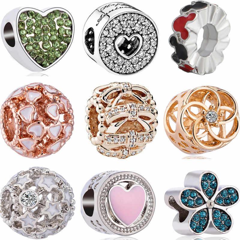 Yeni Moda Içi Boş Kız Tavşan Yıldız Yay Mickey Mouse Aşk Kalp kristal boncuklar Fit Pandora Bilezikler Kadınlar için DIY uğurlu takı