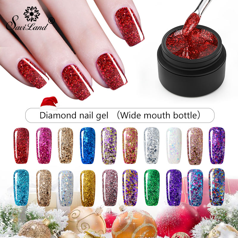 Saviland Christmas Gel Paint Hybrid Diamond Glitter Gel Nail Polish UV Nail Art Manicure Gel Varnish Sequins Gel Lacquer