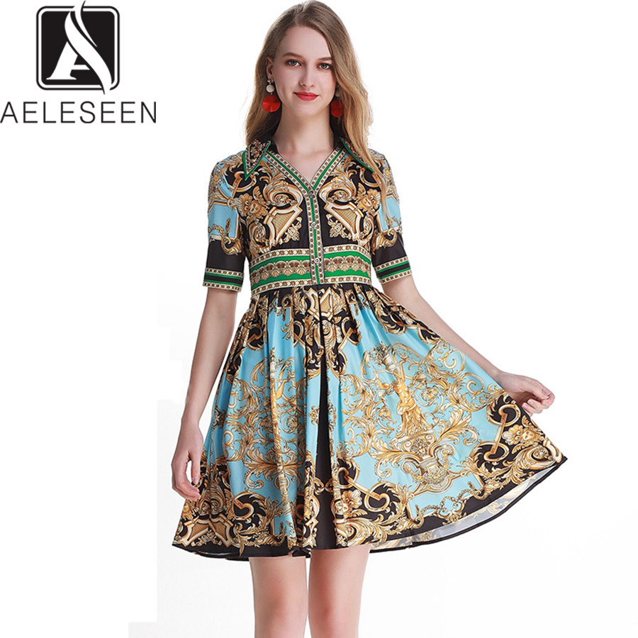 AELESEEN Runway Fashion Dress 2019 Spring Summer New Fashion Women s Slim Beading V Neck Diamonds