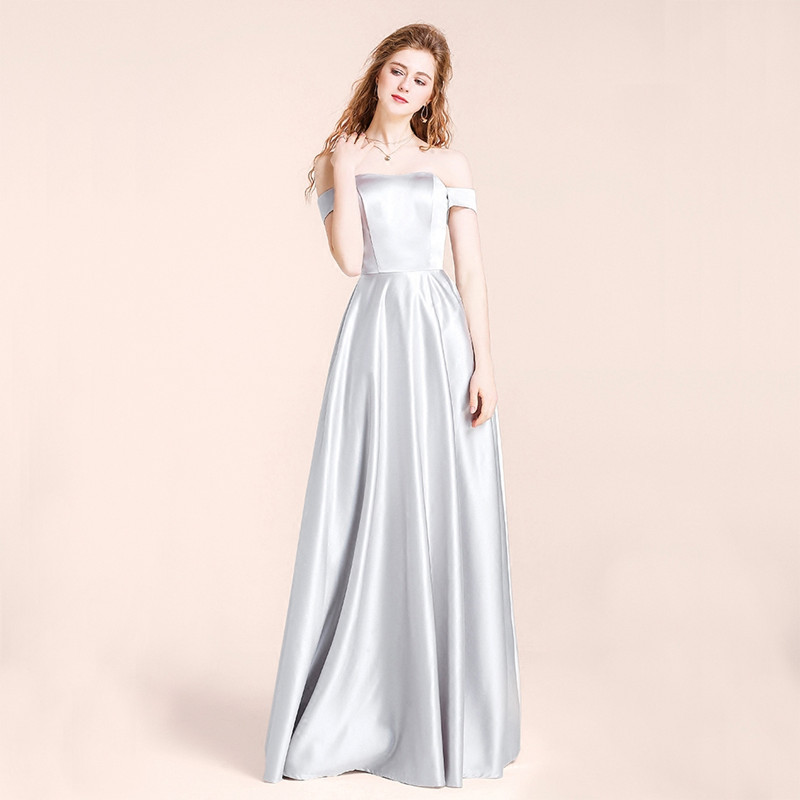 Holievery Silver Off Shoulder   Bridesmaid     Dresses   2020 Satin Long Wedding Guest Gowns Floor Length Party   Dress   sukienka wesele