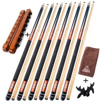 CUESOUL 6 Pieces Pool Cue With Cue Bridge Head And Cue Towel 8 Cue Stick Pool
