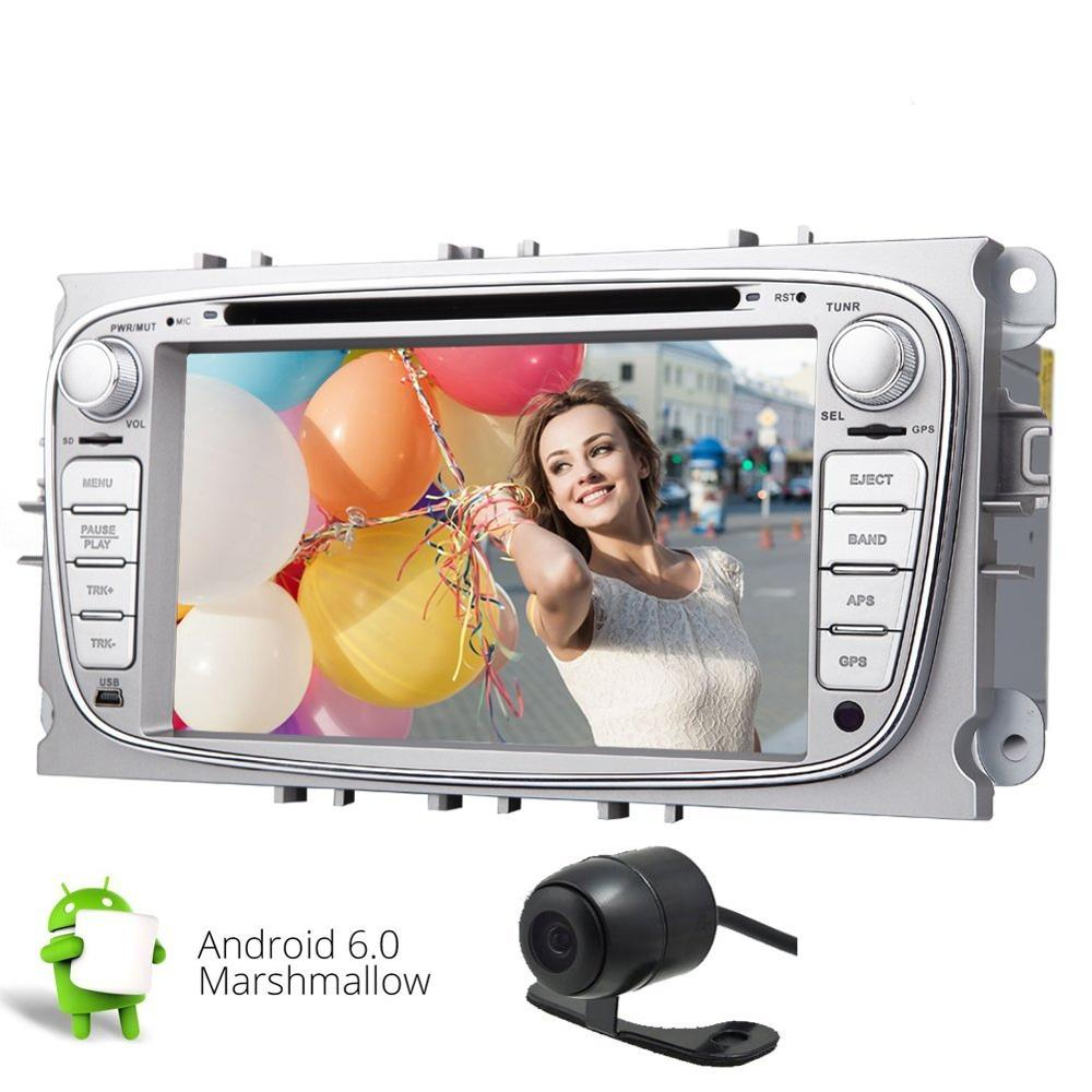 Android 6.0 Car Stereo Head Unit HD 2 Din Car DVD Stereo for Ford Focus Mondeo Galaxy S-max tape recorder GPS Navigation SWC DVD