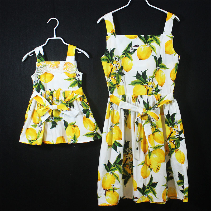 Maman et moi mère fille bébé robe été Off Soulder bretelles citronnier motif mode maman et fille robe vêtements