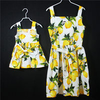 Mommy and Me Mother Daughter Baby Dress Summer Off Soulder Strapless Lemon Tree Pattern Fashion Mom and Daughter Dress Clothes