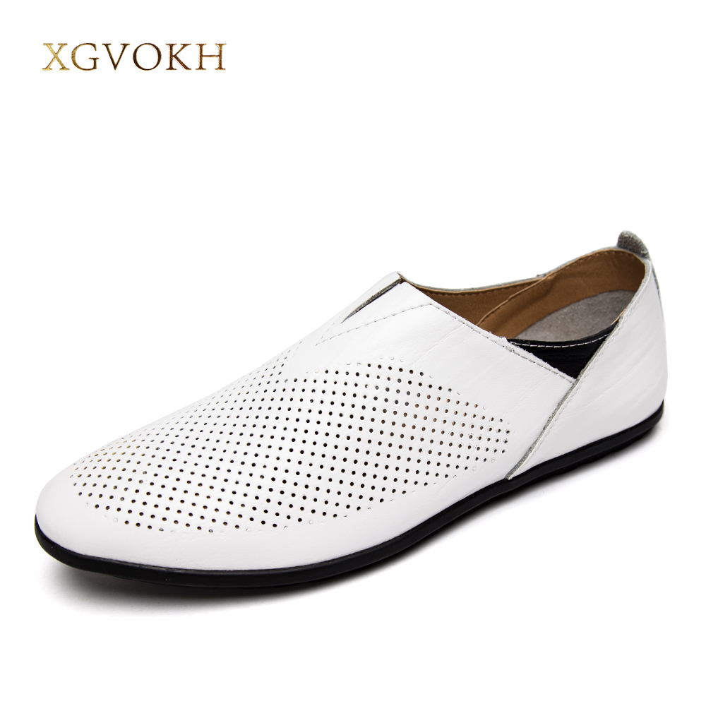 XGVOKH 37-45 Size Men Genuine Leather Driving Moccasin Loafers Shoes Breathable Hollow Men Casual Shoes Flats Summer Slip on genuine leather men casual shoes summer loafers breathable soft driving men s handmade chaussure homme net surface party loafers