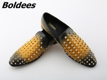 Boldees 2018 Fancy Men Loafers Luxury Brand Flats Stud Slip On Casual Shoes Yellow Leather Boat Shoes Men Spike Shoes Low Top christia bella men s leisure leather flats shoes brand designer metal toe slip on boat shoes zebra pattern charm men party shoes
