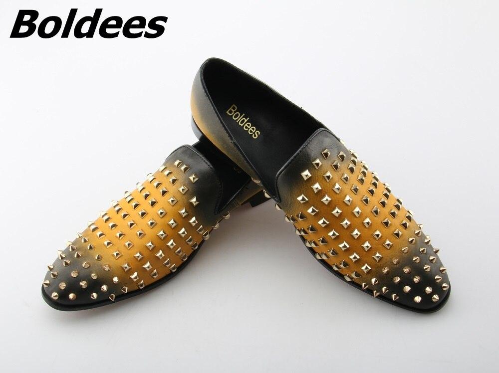 Boldees 2018 fantaisie hommes mocassins marque de luxe appartements Stud sans lacet chaussures décontractées jaune en cuir bateau chaussures hommes Spike chaussures bas