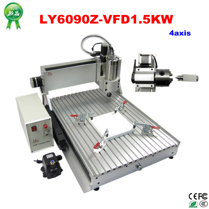 Mach3 control system 1.5KW 4 axis 6090 cnc router with rotary for assembled cnc 5axis a aixs rotary axis t chuck type for cnc router cnc milling machine best quality