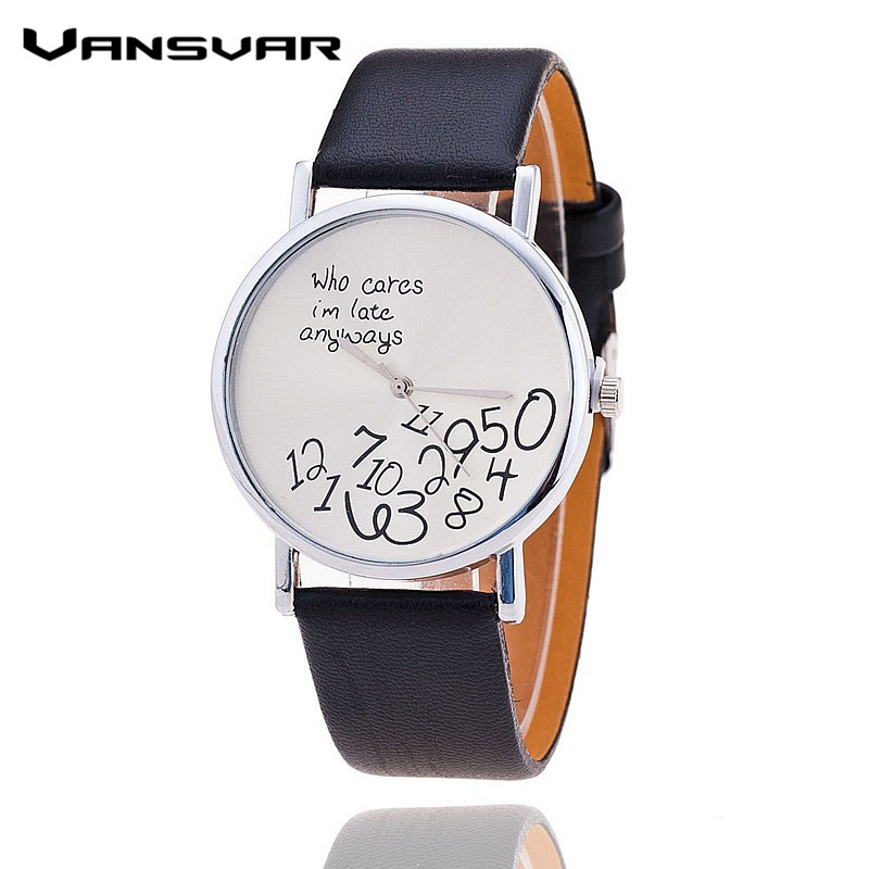 Vansvar Brand Fashion who cares I'am late anyway Watch Leather Strap Women Watch Quartz Watch relojes mujer 1403 lovesky 2016 new arrival women pu leather watch who cares i am late anyway letter watches wrist watch free shipping