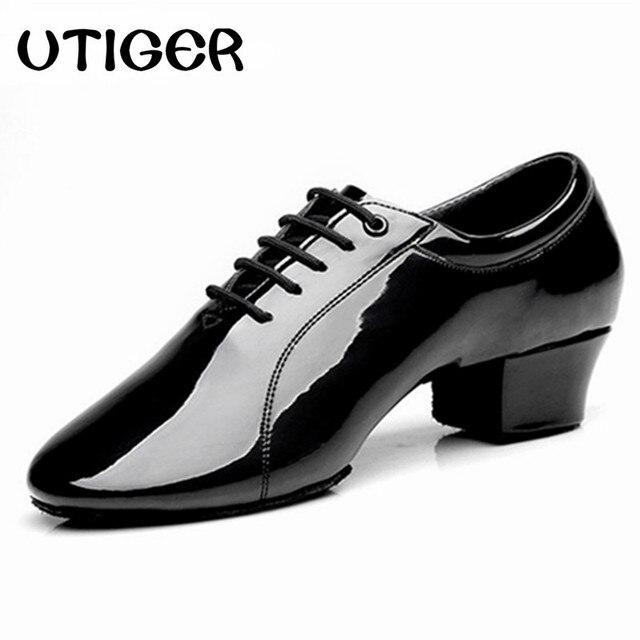 57e5d26e30b7 New Men Ballroom Latin Dancing Shoes Patent Leather Male Black Tango Party  Square Dance Shoes Heel 4.5cm Dance Shoes