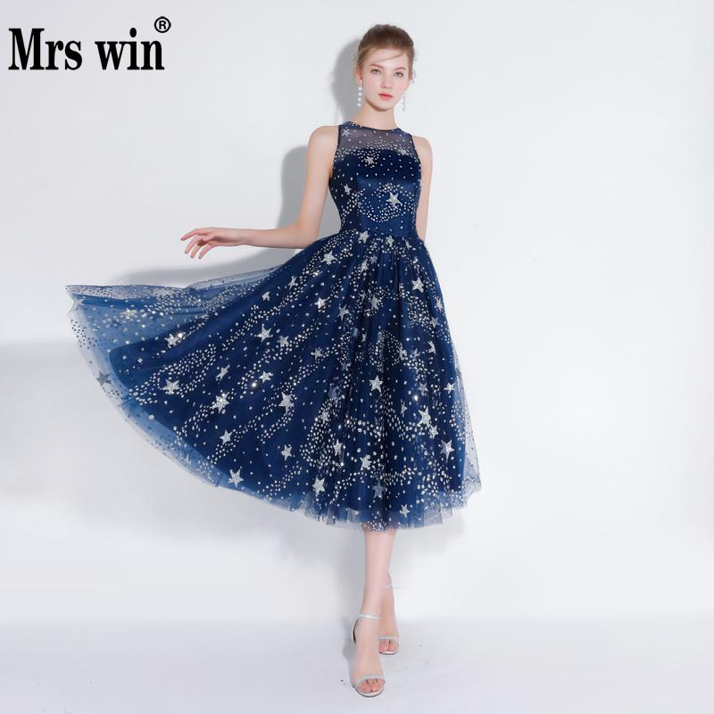 Robe De Soiree 2018 New The Banquet Elegant Blue Gown O neck A line Bling Bling Stars Party Prom Evening Dresses F-in Evening Dresses from Weddings & Events    1