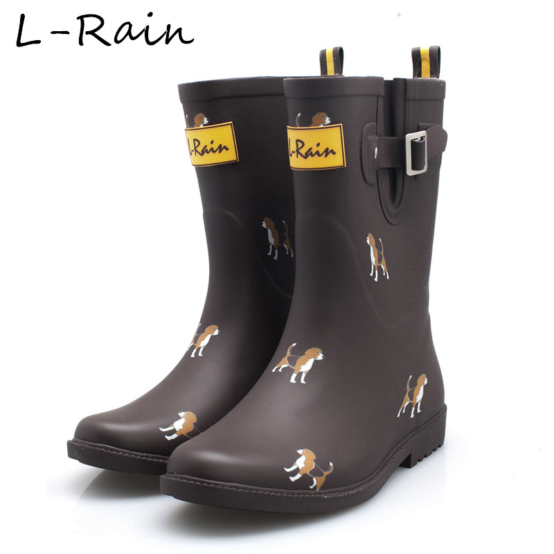 New Fashion Women Rubber Rain Boots Flat Heels Mid calf ...