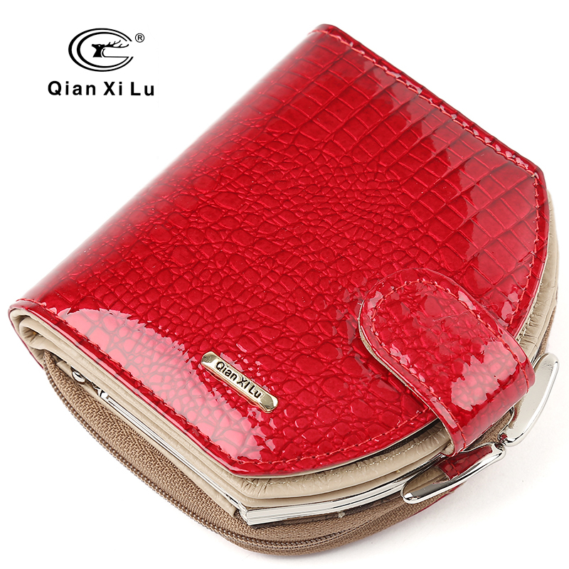 New Brand Design Mini Wallets Kvinner Hobo Purses Mote Patent Leather Coin Wallets Rød og Svart Female Money Bag