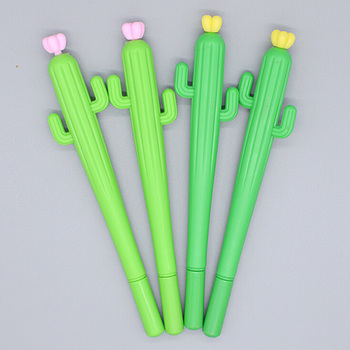 1Pcs New Cute Creative Green Cactus Flower Gel Pen Office School Gift Stationery Pen Free Shipping