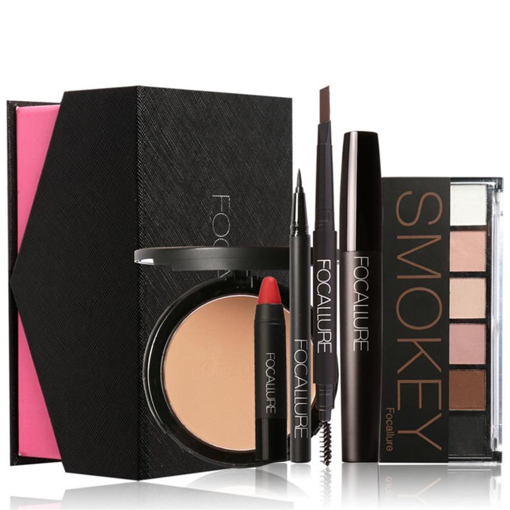 FOCALLURE 6pcS/Set Makeup kit Brand Beauty Cosmetics Brow Pens Eyeshadow Powder Lip Eyeliner Mascara Essential to Beginner