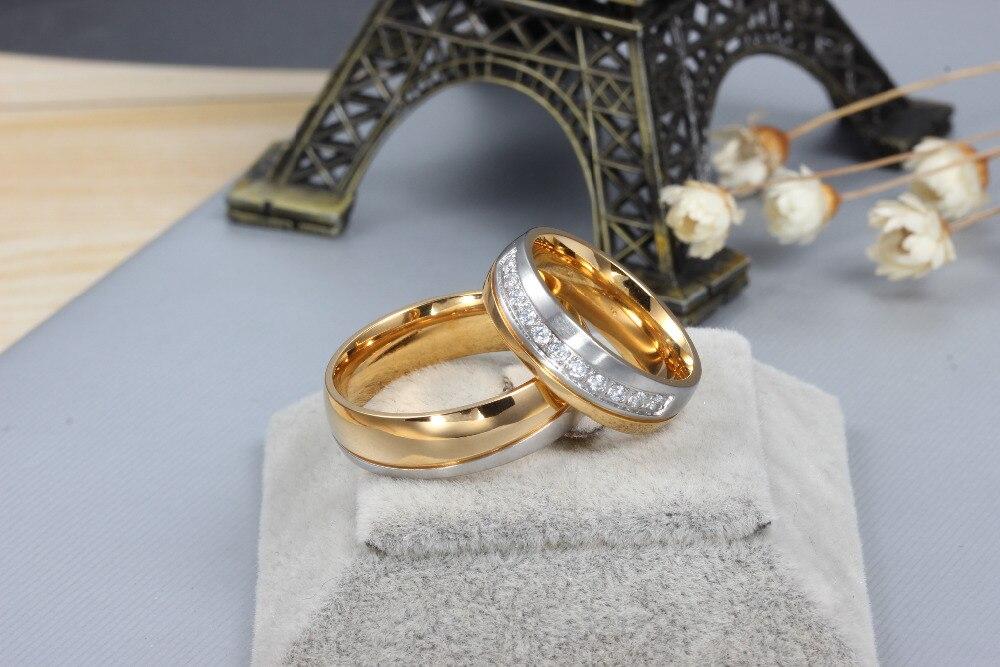 Классические свадебные бренд кольцо для Для женщин/Для мужчин золото-цвет с Нержавеющаясталь любовь кольцо обещание ювелирных изделий ...