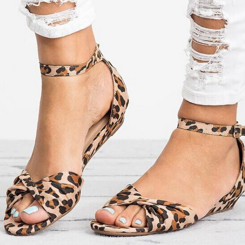Laamei Leopard Print Flache Ferse Frauen Sandalen 2019 Sommer Frauen Schuhe Sommer Schuhe 2019 Ankunfts-summer Sandalen Süße Elegant Im Geruch Frauen Schuhe
