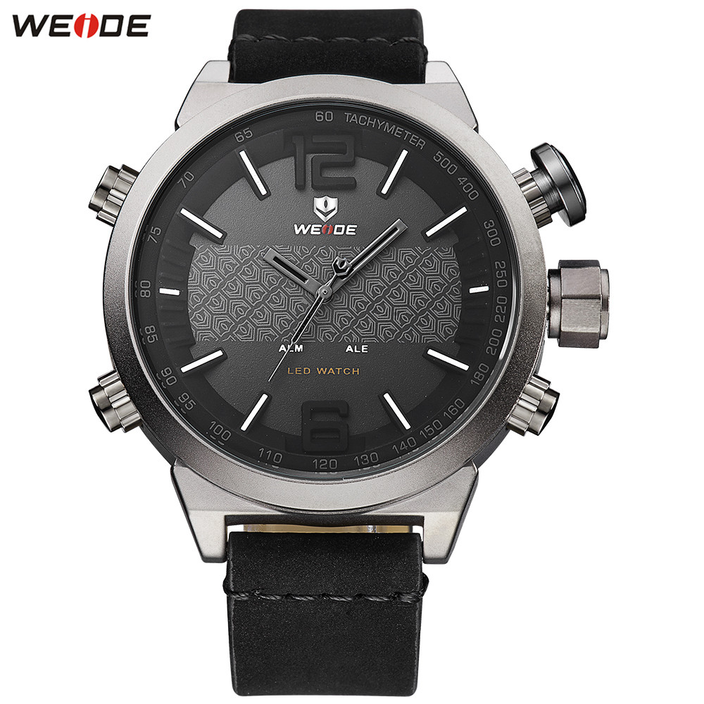Top Brand Fashion WEIDE Business Watch Men LED Digital Quartz Watch Leather Band Mens Analog Dress Wristwatches Orologio Uomo цена