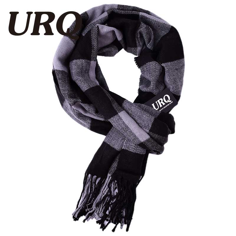 URQ tassel knitted winter autumn plaid scarf for men