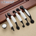 4pcs Country Style Door Handles Black White Ceramics Drawer Pulls Kitchen Cabinet Handles and Knobs Furniture Handles