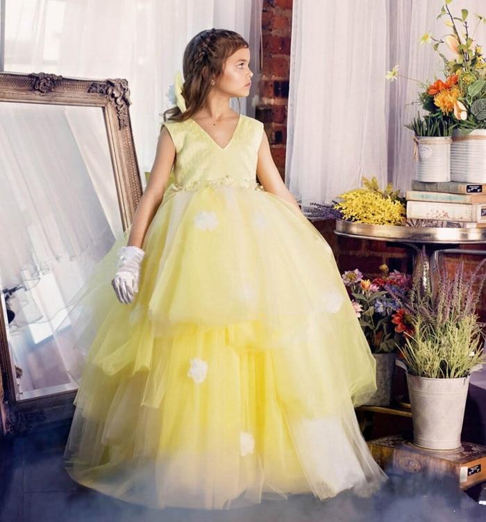 New Yellow Flower Girls Dresses V-neck 3D Appliques Draped Tiered Vestido Pageant Princess Party Dress for kids v neck sleeveless asymmetrical draped dress for women