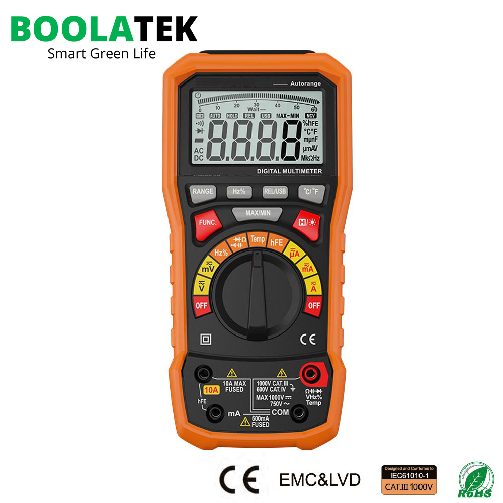 BOOLATEK Auto Range Digital Multimeter with TRMS 1000V Temperature Capacitance Frequency Test my68 handheld auto range digital multimeter dmm w capacitance frequency