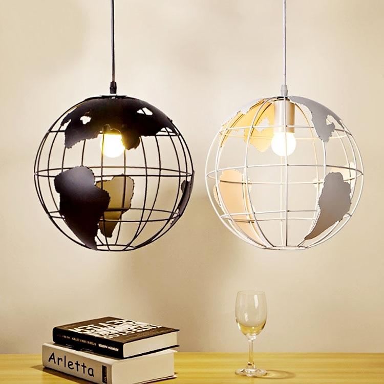 Black/White Globe Earth Shade Iron Pendant Lamp Hanging Light For Island  Home Decoration Lighting