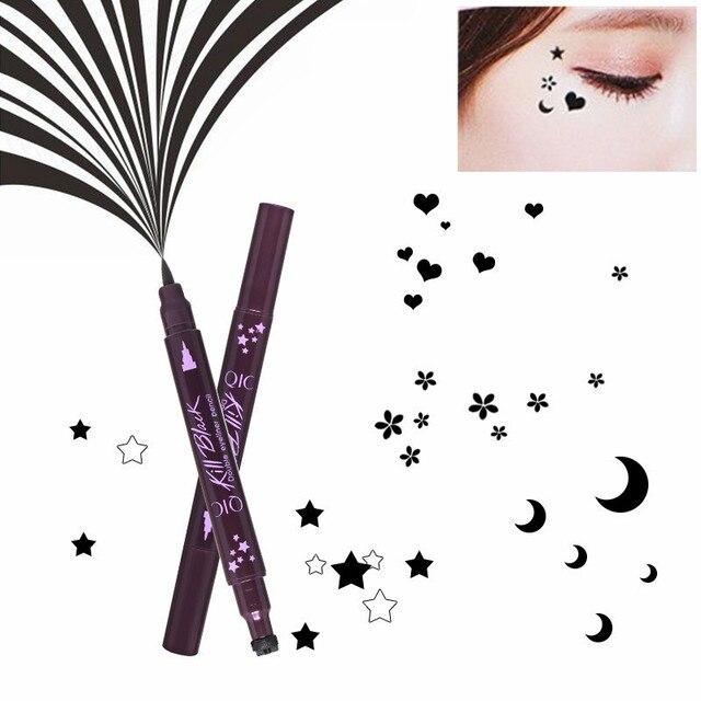 Double-head Black Liquid Eyeliner Pencil Easy to Wear Makeup Star Heart Moon Flower Stamp Waterproof Mark Seal Tattoo Eye Liner 2