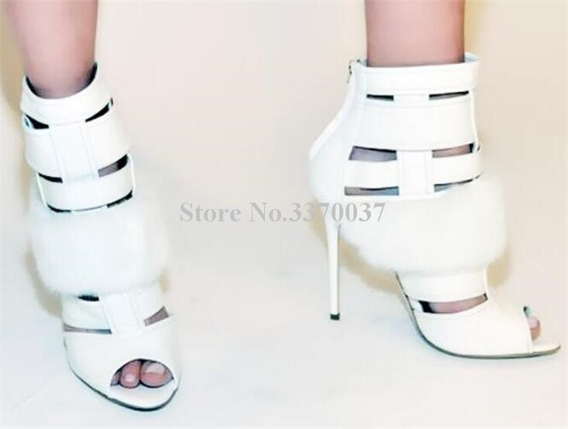 New Fashion Women Open Toe White Fur Design Gladiator Short Boots Cut-out Stiletto Heel High Heel Ankle Boots Dress Shoes