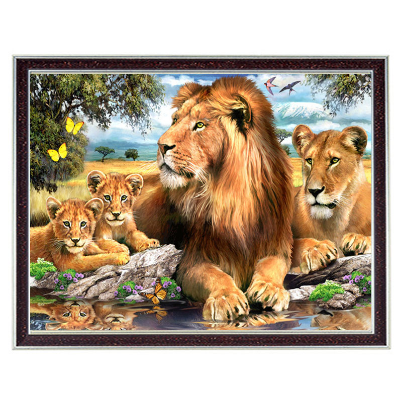 Needlework Crafts 14CT unprinted embroidery French DMC Quality Counted Cross Stitch Kit DIY Animals Lions