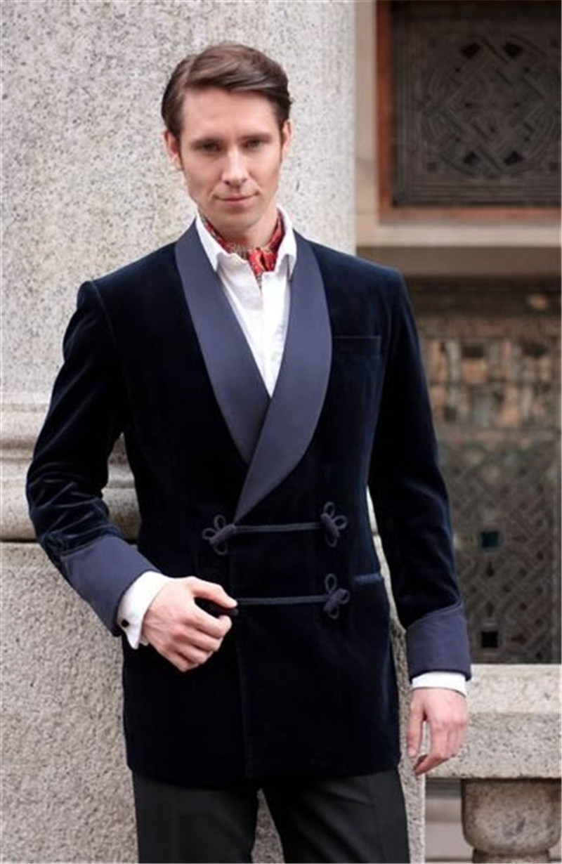 2019 Latest Coat Pant Designs Navy Blue Velvet Smoking Tuxedos With Satin Shawl Lapel Elegant Vintage Retro Blazer Jacket+pants