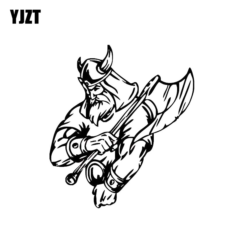 YJZT 12.4*13.9CM Warrior Bold Brave Cool Viking Soldier Decal Black/Silver Covering The Body Car Sticker Vinyl C20-1755