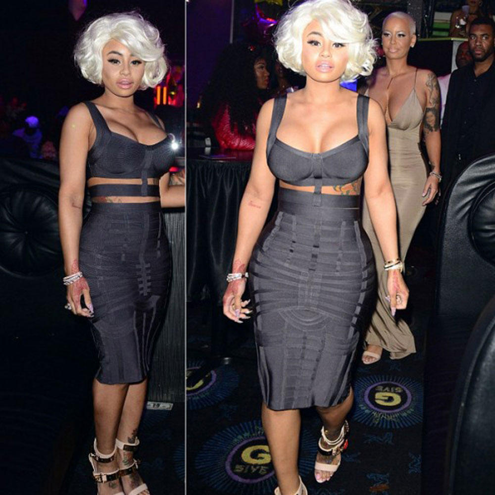 2 piece set grey strappy 2018 newest celebrity party rayon knee length bandage dress