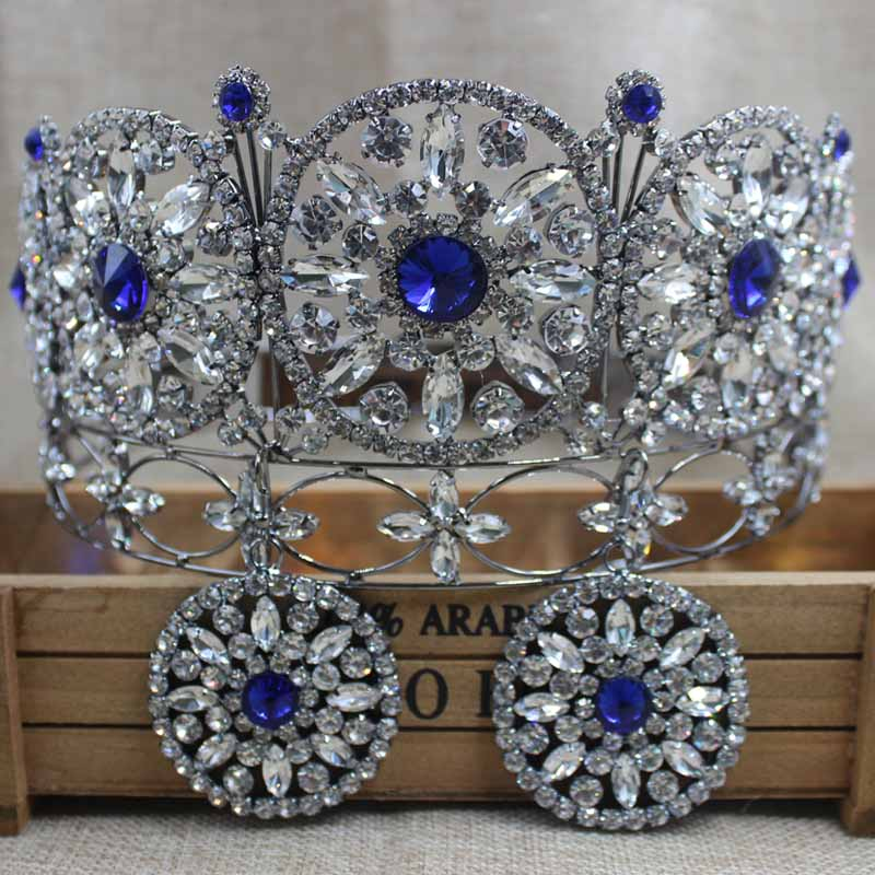 ZerongE jewelry 3.5inch gun-metal full round crown pageant miss world rhinestone prom hair jewelry crown with earring matchingZerongE jewelry 3.5inch gun-metal full round crown pageant miss world rhinestone prom hair jewelry crown with earring matching