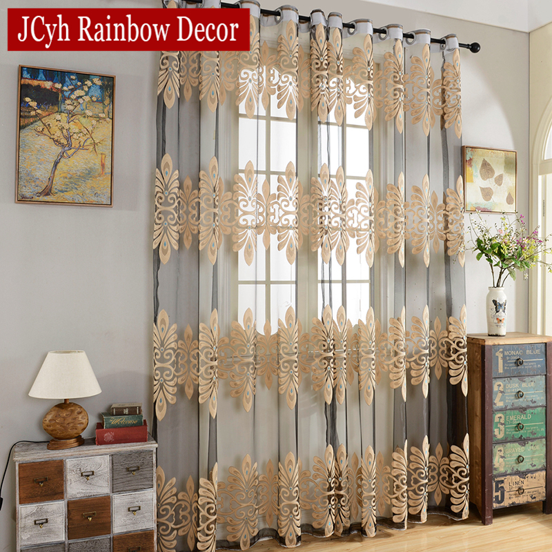 Luxury Tull Curtains For Living Room Bedroom Ready Made