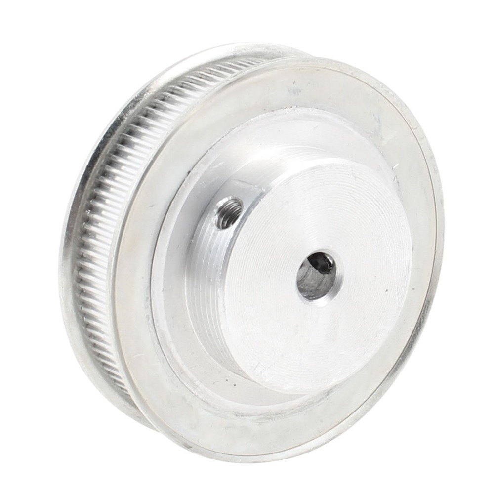 Silver Tone Aluminum Alloy 100 Teeth 8mm Pilot Bore Screwed Timing Pulley for Milling Machine Power Transmission