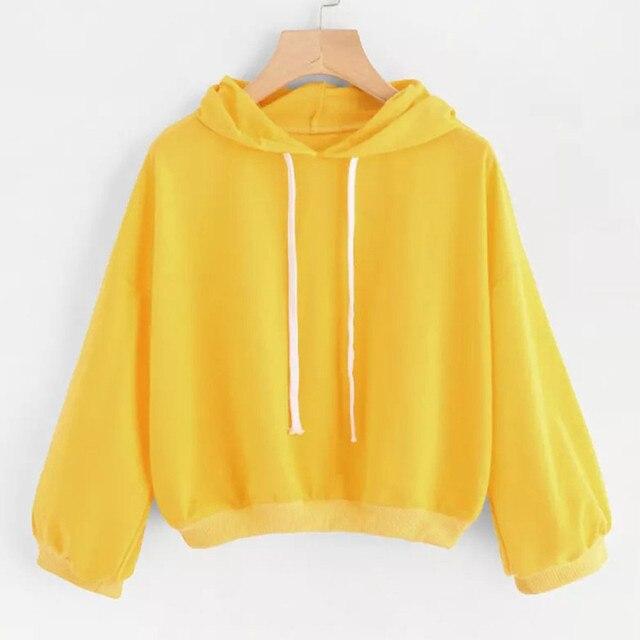 Autumn New Harajuku Yellow Sweatshirts Crop Top women Long sleeve Casual  cropped Hoodie Black Pullover Sweat 38dc38b35