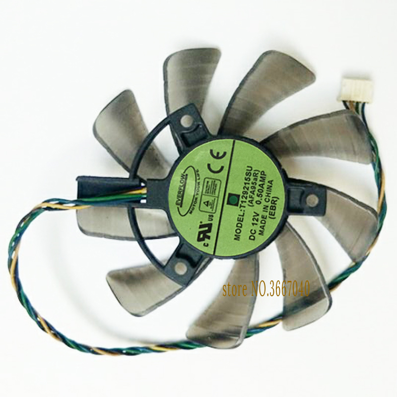 Cooler T129215SU 85mm GPU VGA Graphics Card Fan For ASUS ASUS GTX 670 760 970 R9 280 290 280X 290X 1060 PWM 4Pin Cooling Fan image