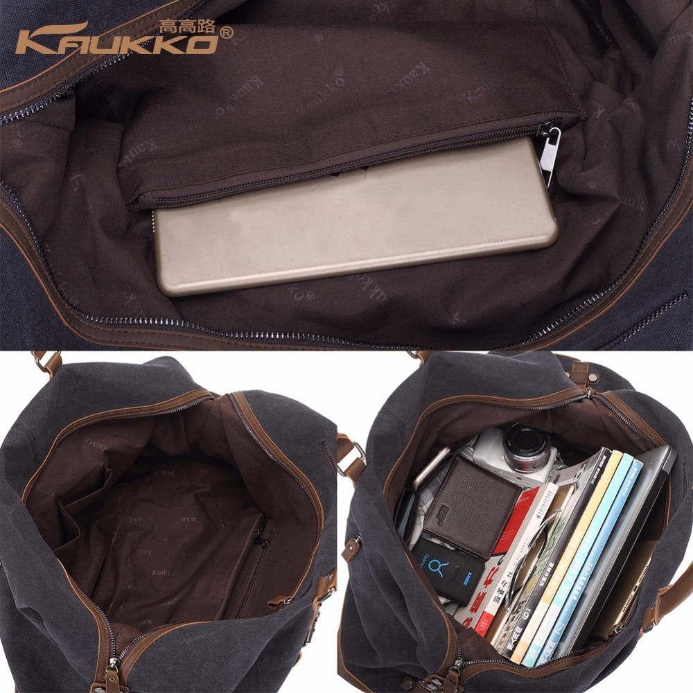 Original KAUKKO lærred læder mænd rejse tasker transportere tasker - Håndtasker - Foto 4