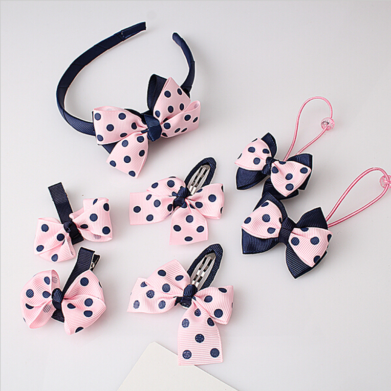 7Pcs Set Kids Girls Baby Headband Toddler Baby Cute Bowknot Hairbands Accessories Headwear Pink 2