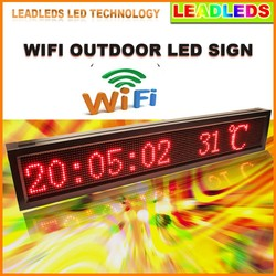 16 x 96 Pixels P10 Outdoor RED Ultra Brightness Wifi Programmable Led Sign / LED Display Board for Storefront