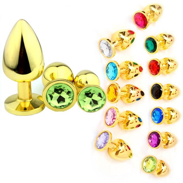Multi color Large Gold Metal Anal Plug Stainless Steel Butt Plugs Toys Sex Toys for Women Man Crystal Jewelry Sex Anal Products