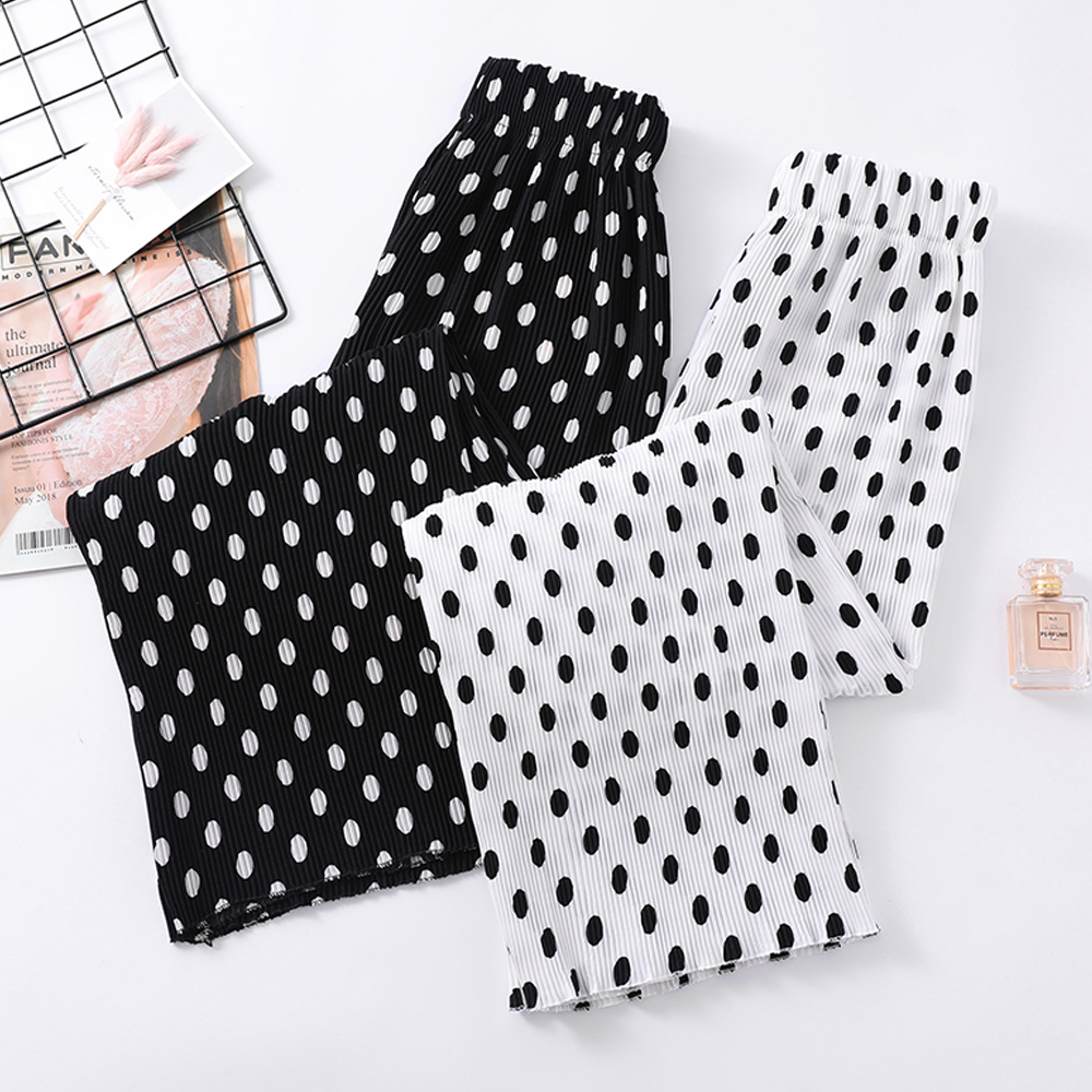 women polka dot wide leg   pants   summer beach high waist pleated chiffon   pants   trousers streetwear casual   pants     capris   female