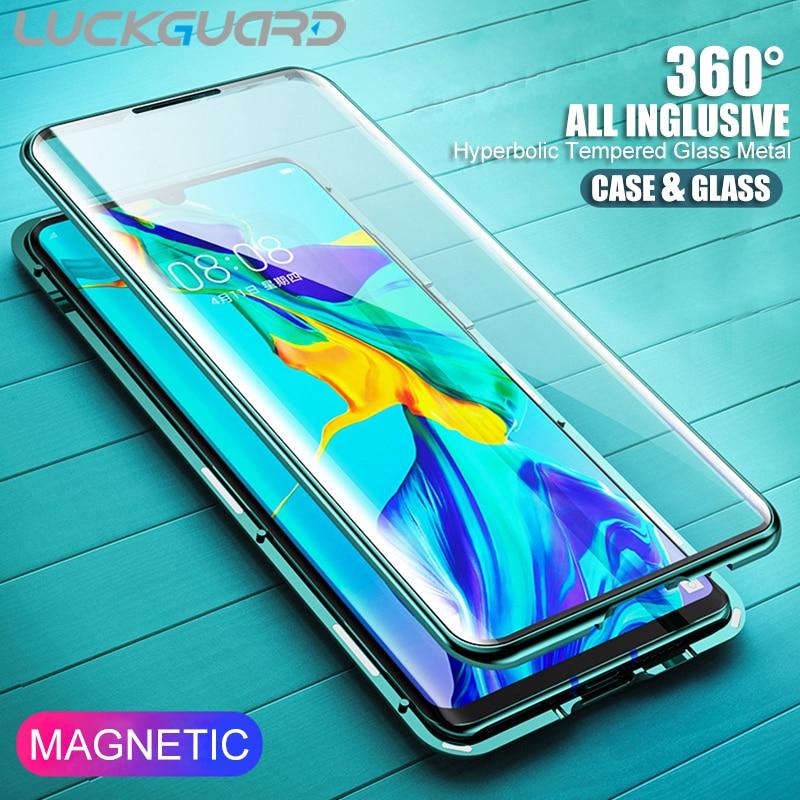 360 caixa de vidro temperado proteção completa para huawei p30 20 pro p30 lite mate 30 pro 20 pro protetor de tela de metal magnético capa